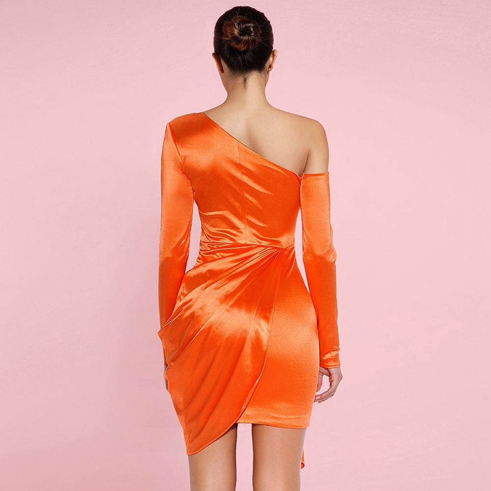 Orange Dress One MiniAsymmetrical