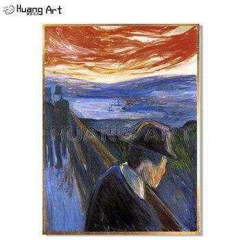 Famous Oil Painting Hand-Painted Man Despair on the Bridge Landscape Oil Painting on Canvas Imitation Edvard Munc Art Painting
