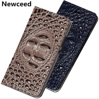 Crocodile Pattern Genuine Real Leather Flip Phone Cover For Meizu Pro 7 Plus/Meizu Pro 7 Pouch Case Bag Standing Flip Case Funda