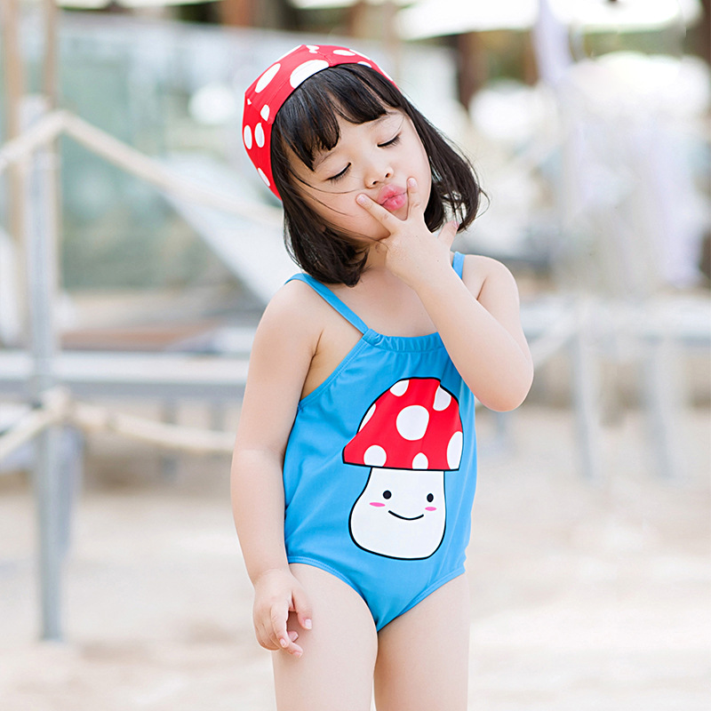 South Korea INS CHILDREN'S Swimsuit Super Cute Holiday Baby One-piece WOMEN'S Swimsuit Children Bathing Suit Hot Springs Swimmin