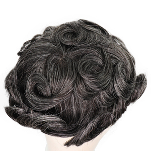 Image 4 - YY Wigs 1B 40% Grey Human Hair Men Toupee Swiss Lace & Thin PU Remy Hair Replacement System for Men 6 Inch Curl Human HairPiece