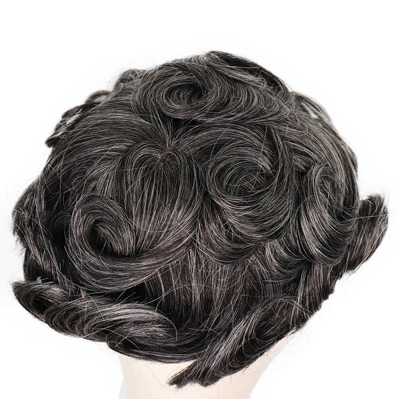 YY Wigs 1B 40% Grey Human Hair Men Toupee Swiss Lace & Thin PU Remy Hair Replacement System for Men 6 Inch Curl Human HairPiece