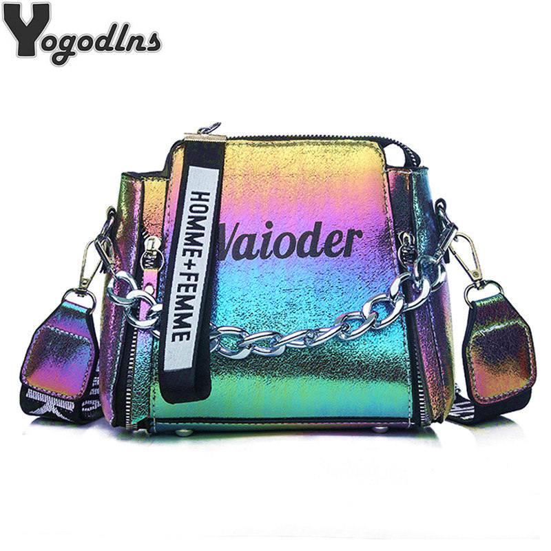 Laser Women Letter Shoulder Bag INS Popular Female Handbag Holiday PU Messenger Bags For Lady Design Exquisite Crossbody Bucket