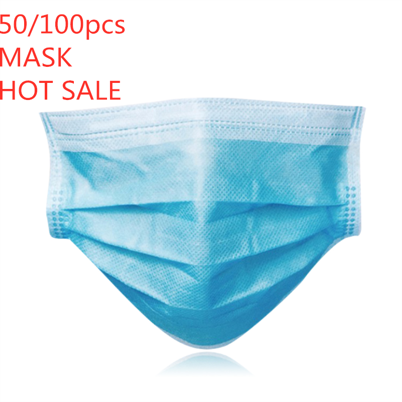 50/100PCS Disposable Protective Mask 3 Layer Nonwove Ply Filter Mouth Face Mask Anti-Dust Anti-Fog Meltblown Earloop Mouth Mask