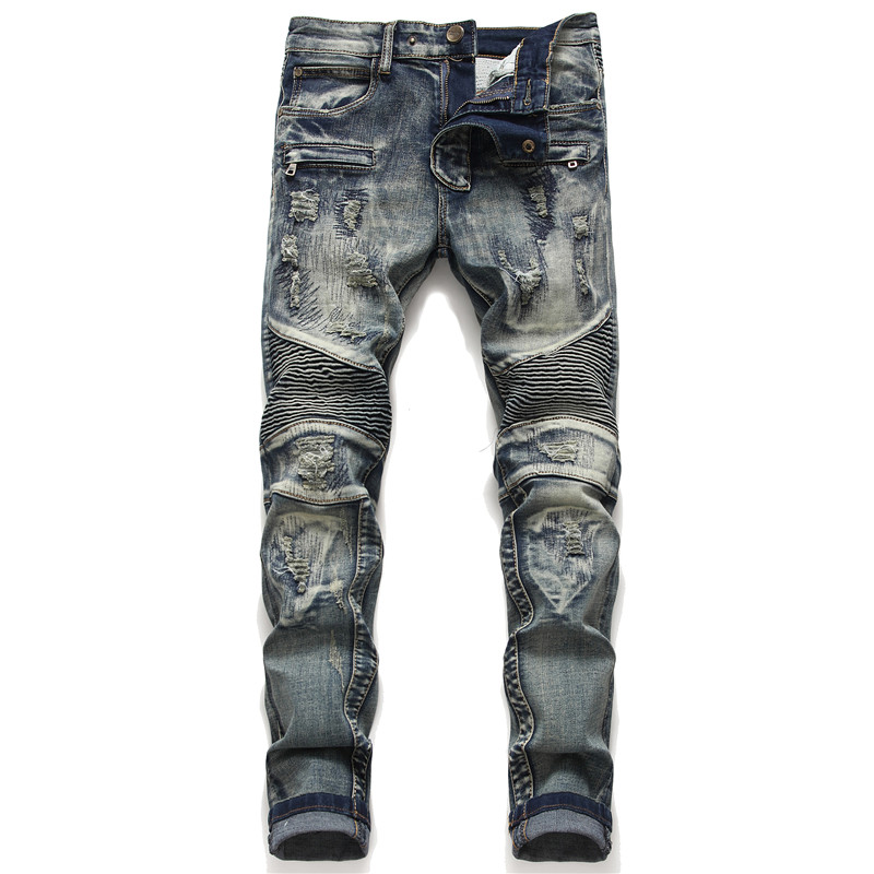 Biker Skinny Jeans Men Jean Homme Denim Ripped Spijkerbroeken Heren Stretch Pants Slim Fit Trousers Locomotive Hip Hop Fashion