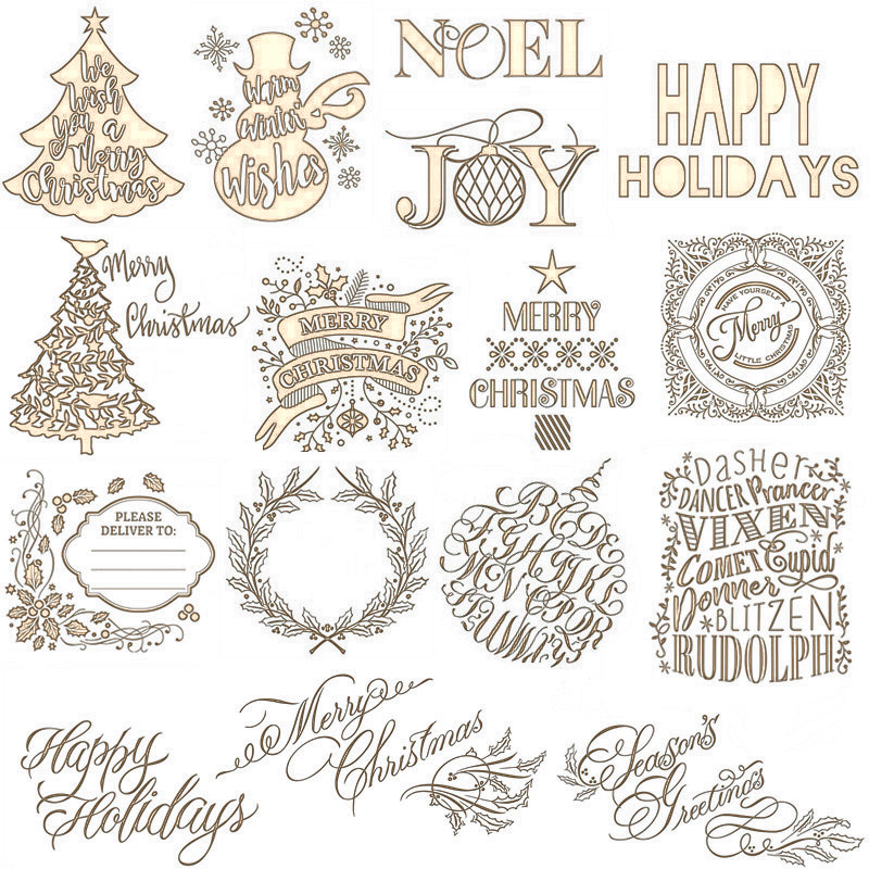 Merry Christmas English Word Hot Foil Plate For Scrapbooking And Cards Making Paper Craft New 2019