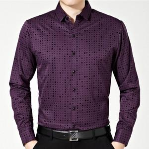 Image 5 - 2020 זכר אופנה מותג מקרית עסקי Slim Fit גברים חולצה Camisa ארוך שרוול Pllka דוט חברתי חולצות שמלת בגדי ג רזי 374