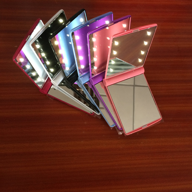 Folding Portable Make up light Women LED mirror lighting Compact Pocket  Vanity lights Battery Operated Lamp Gift