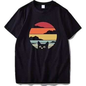 Cat Shirt Retro Style T-Shirt Vantage Cotton Digital Printing High Quality Soft Sweat EU Size Tshirt - discount item  40% OFF Tops & Tees