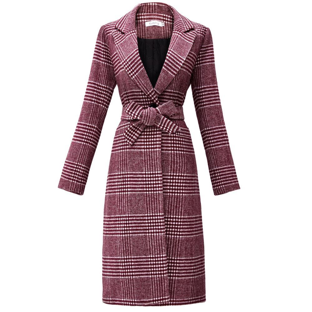 KAMAZING femmes hiver nouveau Plaid de laine Long manteau de laine rabat poche arrière fente doublure Design