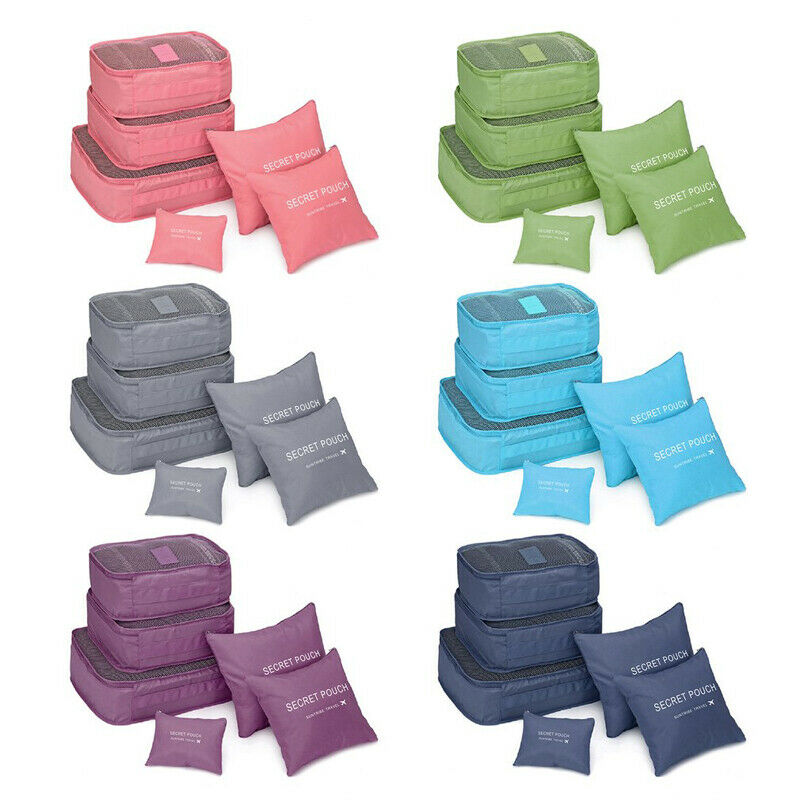 6Pcs Clothes Underwear Socks Packing Travel Luggage Organizer Bag Cube Storage