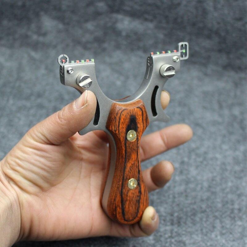 Estilingue de alta precisão de aço inoxidável, estilingue de madeira lisa, couro, competição ao ar livre, tiro, caça, poderoso