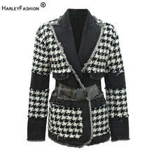 HarleyFashion Winter Design High Street Quality Patchwork Houndstooth Tweed Blaz