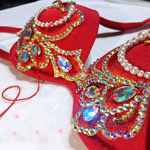 Image 5 - 이집트 전문 밸리 댄스 브래지어 + 스커트 + 벨트 + 속옷 여성 오리엔탈 댄스 정장 밸리 댄스 의상 디럭스 댄스 복장