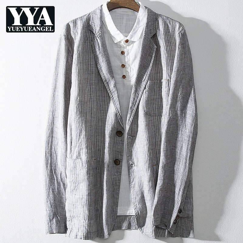 Mens Casual Linen Blazer Jacket Spring Summer Long Sleeve Striped Suit Coat Single Breasted Business Man Work Blazers Outerwear