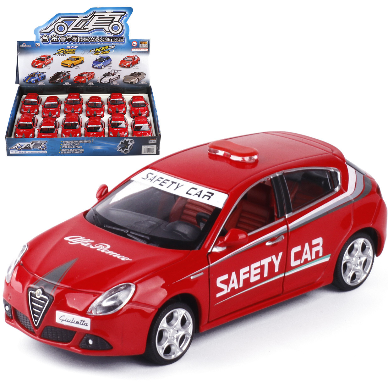 1:32 High Simulation Alfa Romeo Safety Car Police Car Model Alloy Sound And Light Pull Back Car Toys For Children Gifts