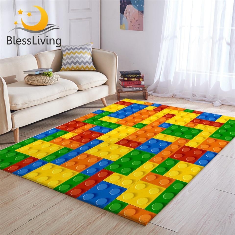 BlessLiving Toy Print Kids Carpet Dot Building Blocks Rugs For Bedroom Boy 3D Carpet Colorful Bricks Game Living Room Carpet