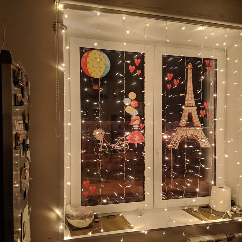 LED Icicle Curtain String Lights LED Garland Xmas Party Christmas Fairy String Light Home Holiday Garden Decoration Warm White