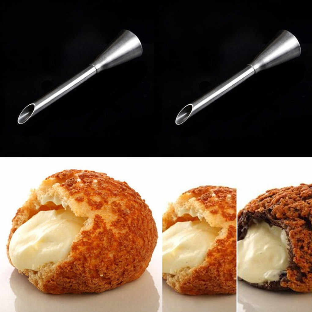 1PCSท่อท่อสแตนเลสCupcakeเค้กตกแต่งเคล็ดลับสำหรับพัฟครีมPastry Piping Nozzlesเครื่องมือตกแต่ง
