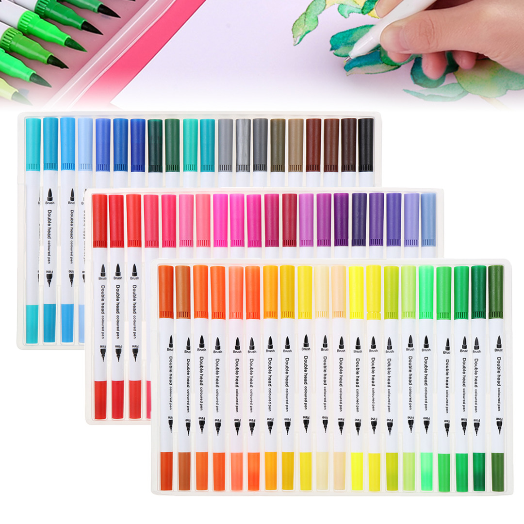 100 Colour Watercolour Brush Pens Set Double-headed Soft Art Markers Drawing