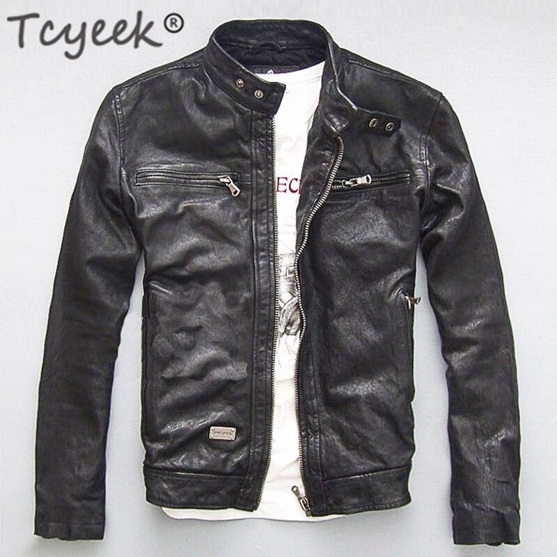 Men Leather Jacket Genuine Real Sheep Goat Skin Brand Black Male Bomber Motorcycle Biker Man's Coat Autumn Spring Clothes  zlg88 1