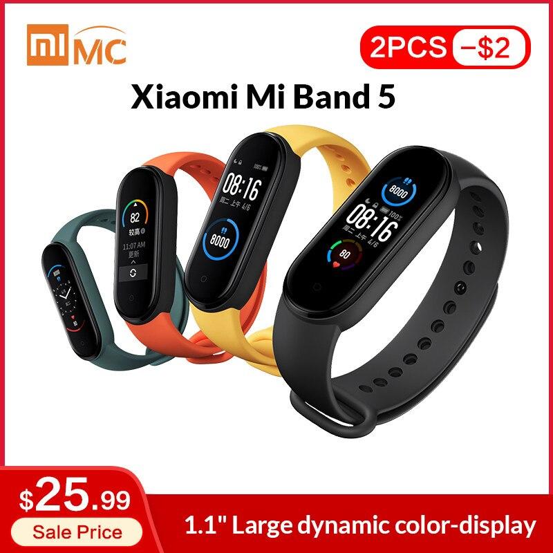 Xiaomi-Opaska Mi Band 5, dostępna, inteligentna, kolorowy ekran AMOLED 1,1'', pomiar akcji serca, monitor fitness, wodoodporna, z Bluetooth 5.0