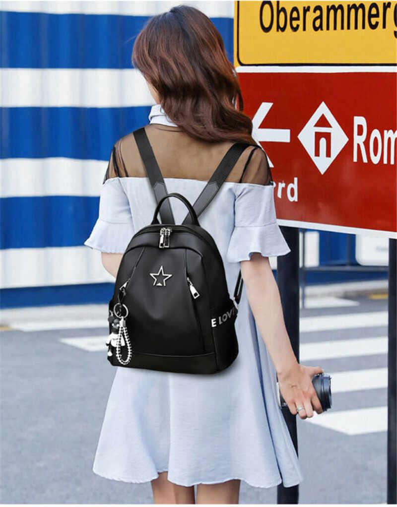 Neue Mode Frauen Große-Kapazität Rucksack Reise Schulter Tasche Weichen Rucksack Damen Oxford Rucksack Schwarz