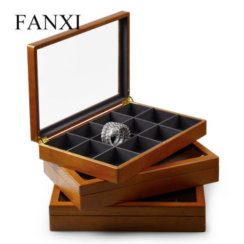 Oirlv Jewelry Display Box Solid Wooden Ring Necklace Bracelet Organizer Case Jewelry Storage Case Earring Display Holder pillow style jewelry watch bracelet display tray box necklace earring container boxes case jewelry organizer gift