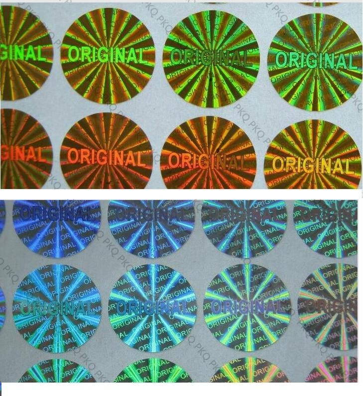 Autocollant ORIGINAL dhologramme de Laser 15mm diamètre argent/or joint de garantie ORIGINAL étiquette dhologramme de laser autocollant Anti fauxPapeterie Autocollant   -
