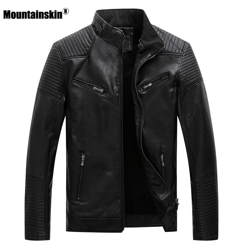 Mountainskin New Mens Motorcycle Leather Jackets 2020 Winter Autumn Leather Jacket Men PU Fashion Casual Brand Clothing SA781