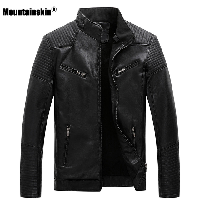 $ US $24.89 Mountainskin New Mens Motorcycle Leather Jackets 2020 Winter Autumn Leather Jacket Men PU Fashion Casual Brand Clothing SA781