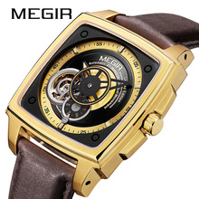 лучшая цена MEGIR Luxury Creative Men Watch Top Brand Chronograph Quartz Watches Clock Men Leather Sport Army Military Wrist Watches Saat