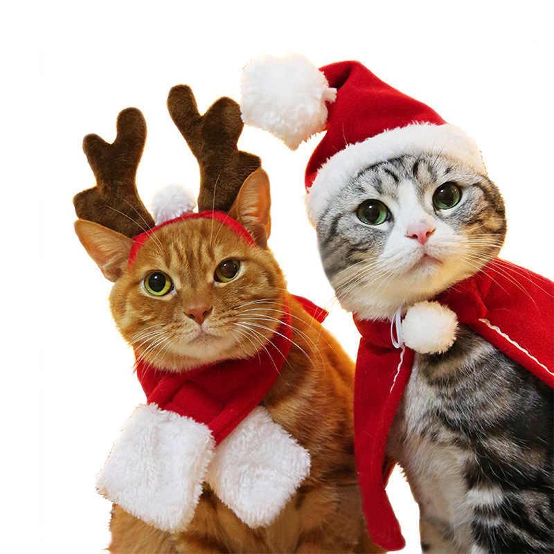 Pet köpek kedi giyim kostüm cadılar bayramı kedi şapka eşarp takım elbise pelerin elbise yeni yıl Pet pelerin noel giysileri Mascotas 2019