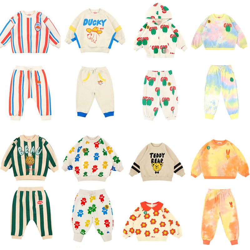 Kids Clothes Sets Toddler Boys 2021 Spring Infant Casual Clothing Set Korean Brand Baby Girls Outfit Ice Cream Sweatshirt Pants 1