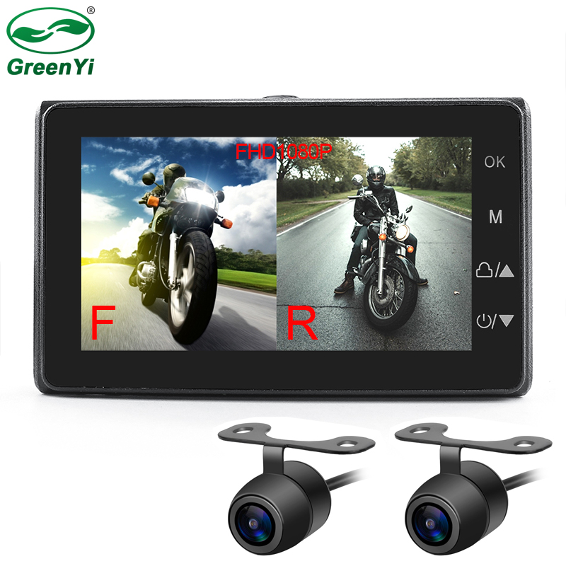 MT19 Motorcycle Video DVR Dash Cam Full HD 1080P+720P Front Rear View Camera Waterproof
