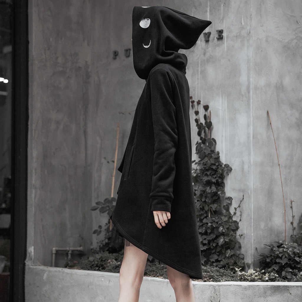פאנק רווה נשים פאנק רוק גדול כובע גלימת מעיל חם Loose אישיות סדיר Hem גותי מסיבת סלעית מעיל