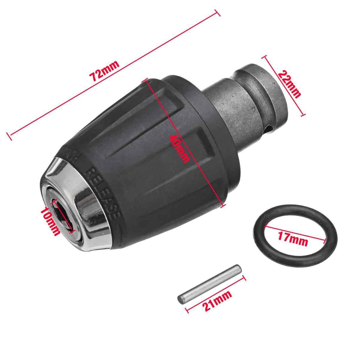 """1 pces aço preto 1/2 """"12.5mm drill mandris adaptador auto-travamento cabeça/ferro chuck chave elétrica acessórios"""