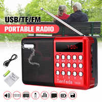 Mini Portable Radio Handheld Digital FM USB TF MP3 Player Speaker Rechargeable on/off memory function LED Display red