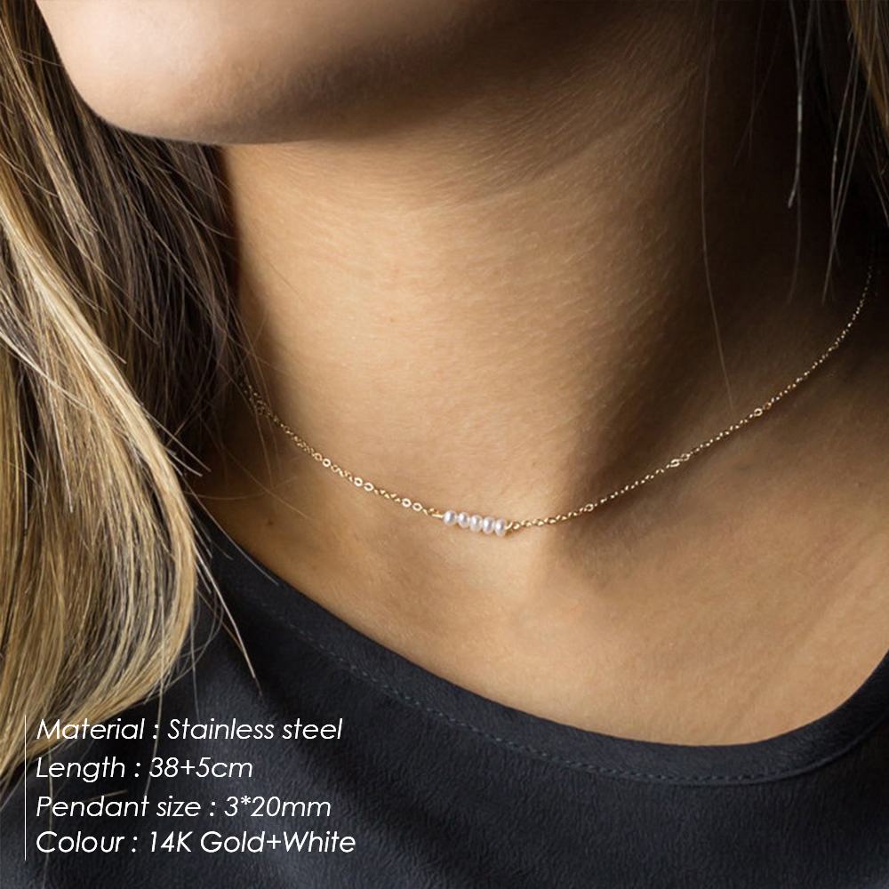 eManco 316L Stainless Steel Necklace White Imitation Pearls Necklace Gold-color Chain Choker Necklace for women Fashion Jewelry