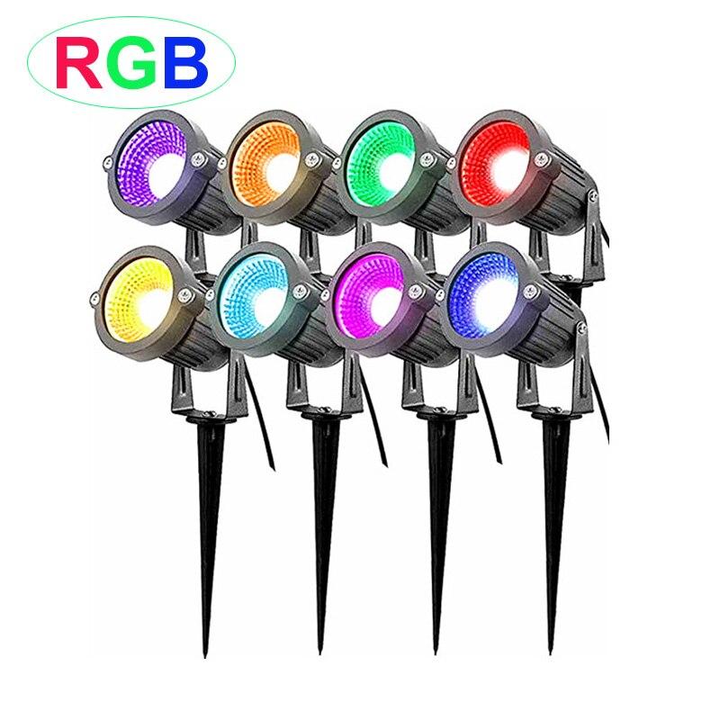 New Style RGB 3W 5W COB Garden Lawn Lamp Light 220V 110V 12V Outdoor LED Spike Light Path Landscape Waterproof Spot Bulbs