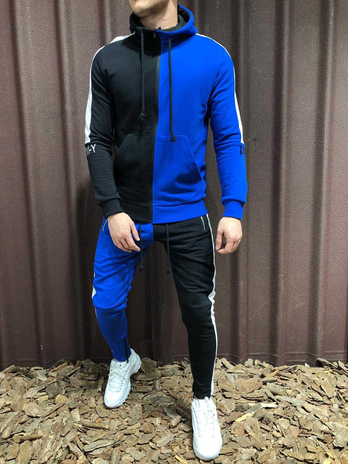 CYSINCOS 男性セットファッション秋のパッチワークジッパートラックスーツセットスポーツ 2 個運動着男性パーカージャケットパンツトラックスーツ