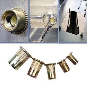 Image 3 - 100 шт., гайки из углеродистой стали/алюминия с заклепками, M3 M4 M5 M6 M8, набор гаек с плоской головкой, вставки и заклепки разных размеров