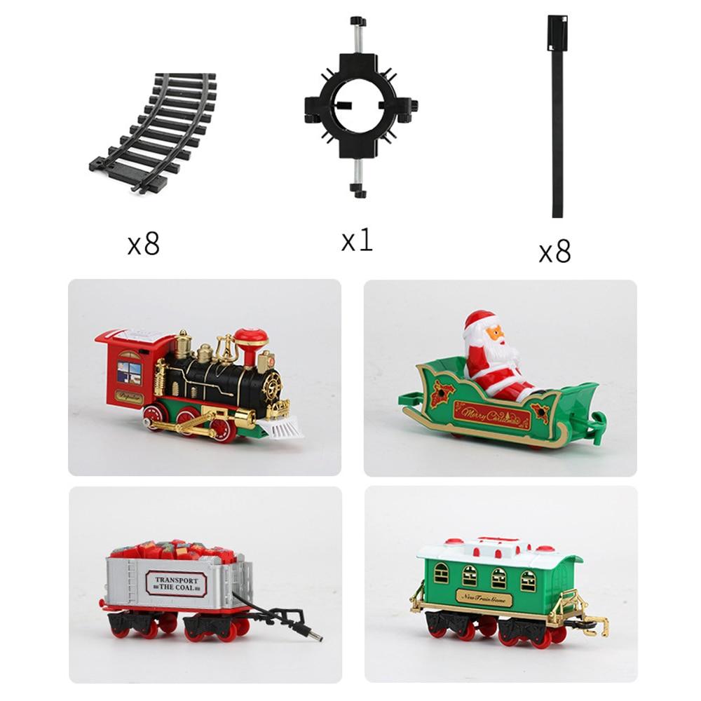 Рождественский поезд, электрические игрушки, украшение для рождественской елки, рамка для поезда, железнодорожный автомобиль со звуком светильник, рельсовый автомобиль, рождественские подарки