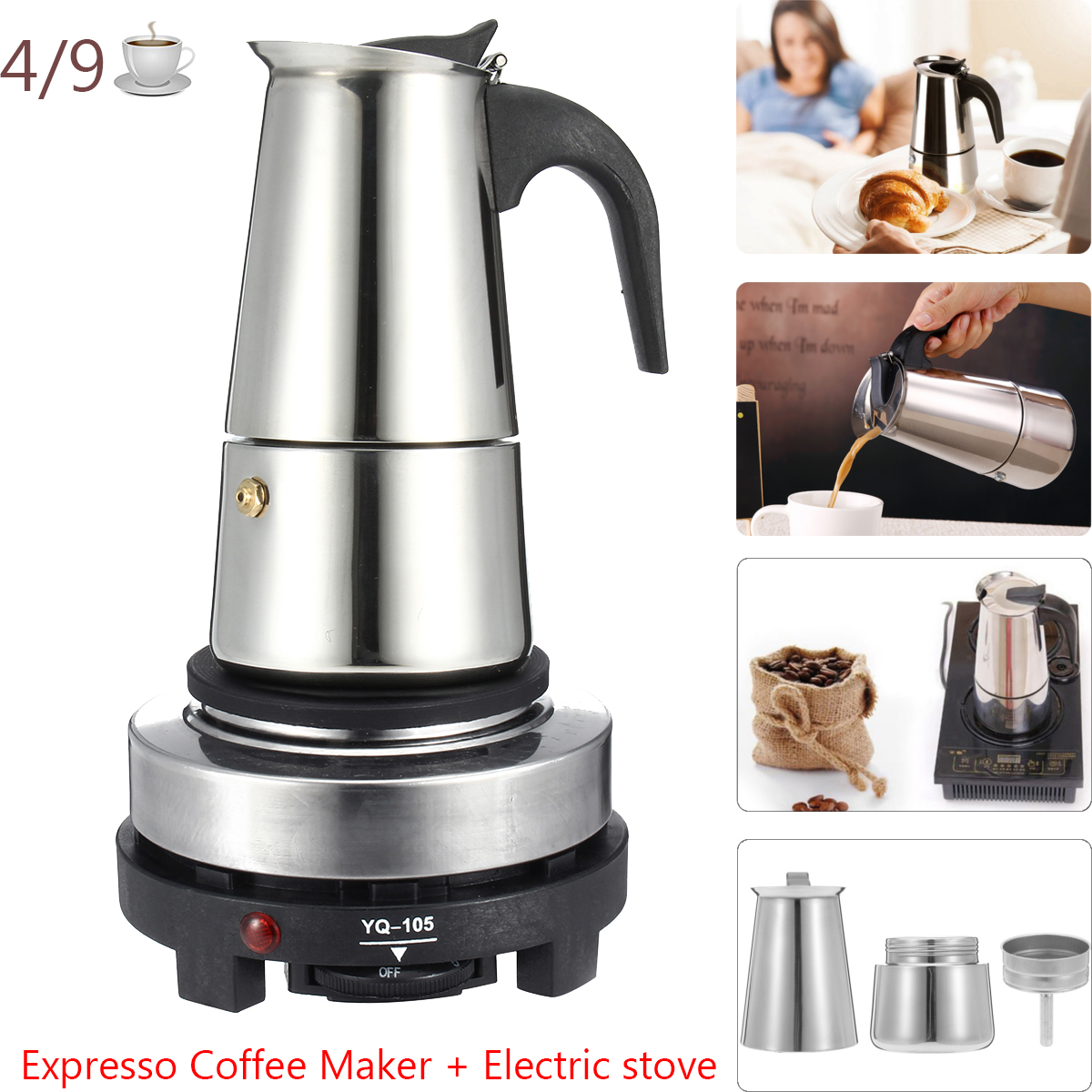 200 / 450ml Portable Espresso Coffee Maker Moka Pot Stainless Steel With Electric Cooker Filter Percolator Coffee Brewer Kettle