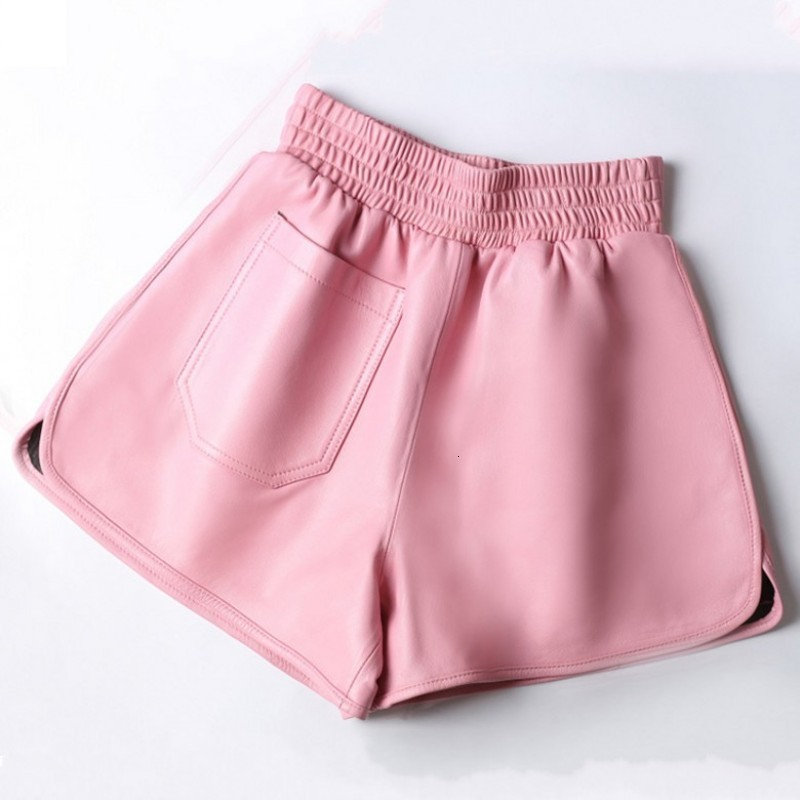 Sheepskin Shorts Women Loose Large Leather Woman Short Pants High Waist Wide Leg Elastic Waist Wear Black Leather Lady Shorts
