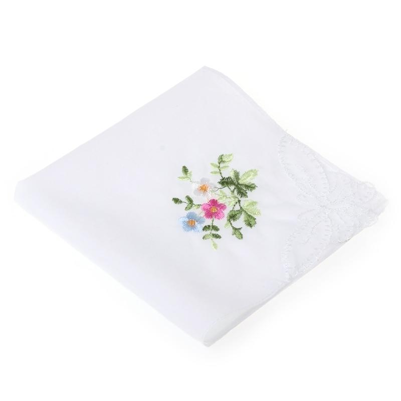 6 Pcs/Set Women Handkerchief Floral Embroidered Ladies Hankies With Blend Cotton 2XPC