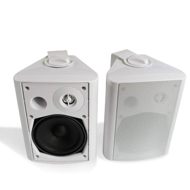 Herdio 5.25 Inch 200 Watts Indoor Outdoor Bluetooth Patio Speakers with Powerful Bass All Weather Wall Mount System(White)