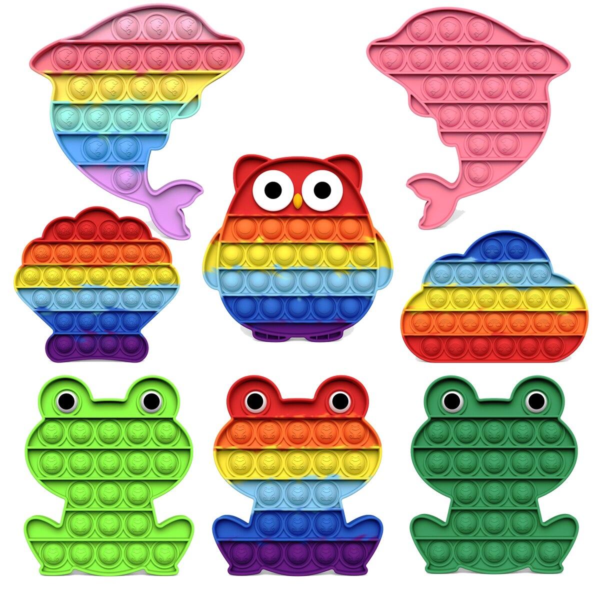 Новинка 2021, игрушка-лягушка с пузырьками, радужная сова, сахар, дельфин, фиджет-игрушки, игрушка для снятия стресса, подарки для детей
