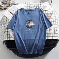 Hirsionsan Printed Cotton T Shirt Women Summer Hot Harajuku Tshirt Korean Vintage Tees for Ladies Comfortable Loose Female Tops