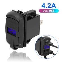 LEEPEE çift USB bağlantı noktaları 5V 4.2A dijital ekran araba RV Camper karavanlar araba şarjı toz geçirmez telefon şarj cihazı evrensel
